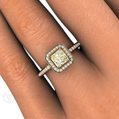 Princess Yellow Sapphire Ring on Finger Rare Earth Jewelry