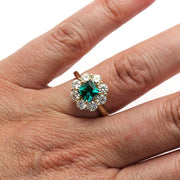 Princess Emerald Moissanite Halo Ring on Finger Rare Earth Jewelry