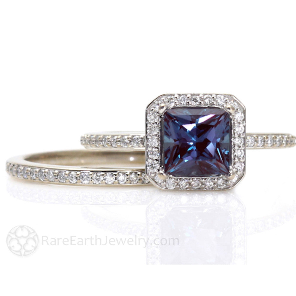 Rare Earth Jewelry Princess Halo Alexandrite Engagement Ring and Wedding Band Set