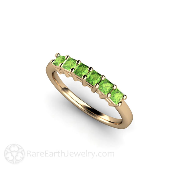 Natural Peridot Gemstone Ring Princess Cut 14K Rare Earth Jewelry