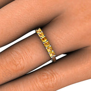 Princess Cut Yellow Sapphire Right Hand Ring on Finger Rare Earth Jewelry