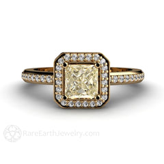 Princess Cut Yellow Sapphire Halo Ring 14K Rare Earth Jewelry