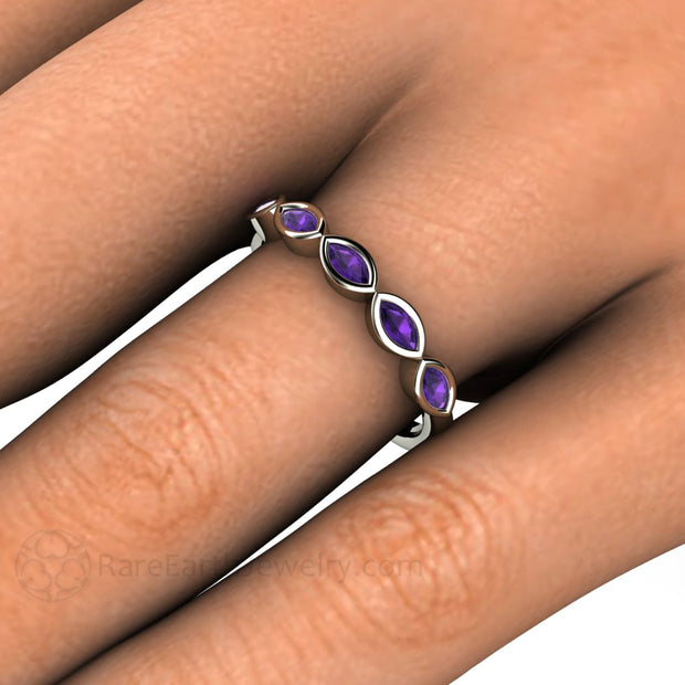 Purple Amethyst Ring Stacking Anniversary Band on the finger custom birthstone rings by Rare Earth Jewelry