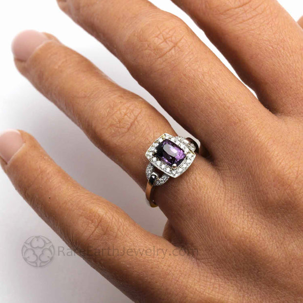 Purple Spinel Engagement Ring with Diamonds on the Finger