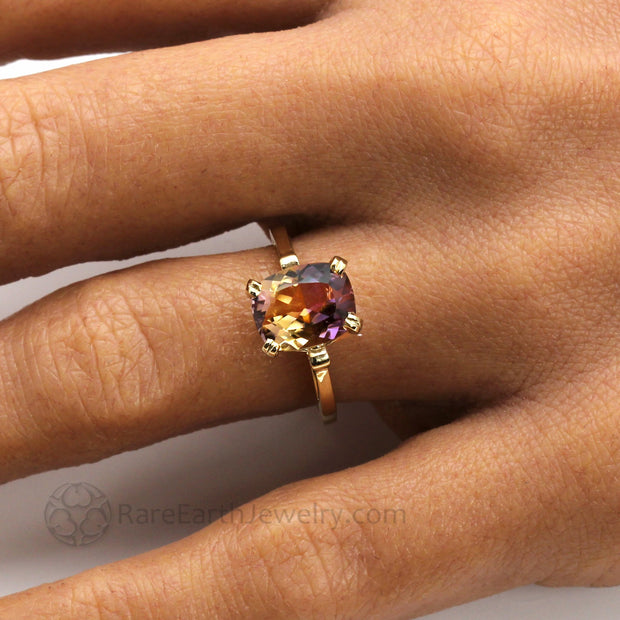 Purple Ring 14K Gold 18K Gold Double Prong Cushion Cut Ametrine Solitaire