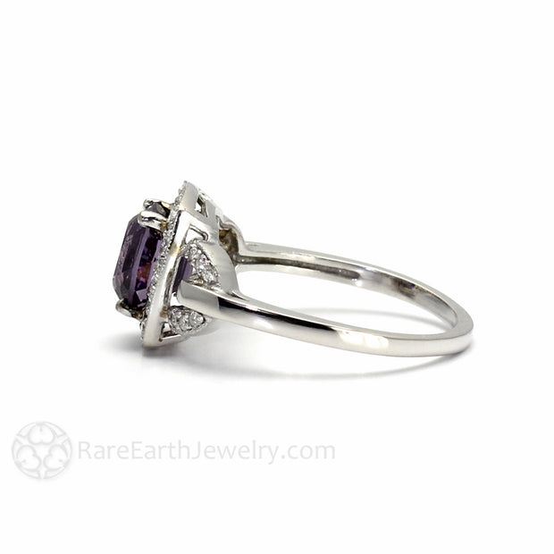 Side view of Purple Spinel Engagement Ring in White Gold