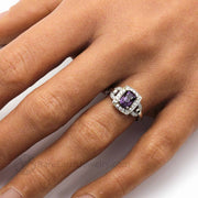 Purple Spinel Ring with Diamond Halo on the Hand