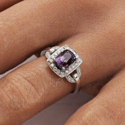 Purple Spinel Ring Unique Engagement Ring Hand Photo