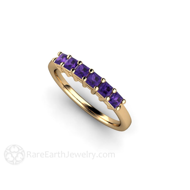 Rare Earth Jewelry 14K Princess Cut Amethyst Band