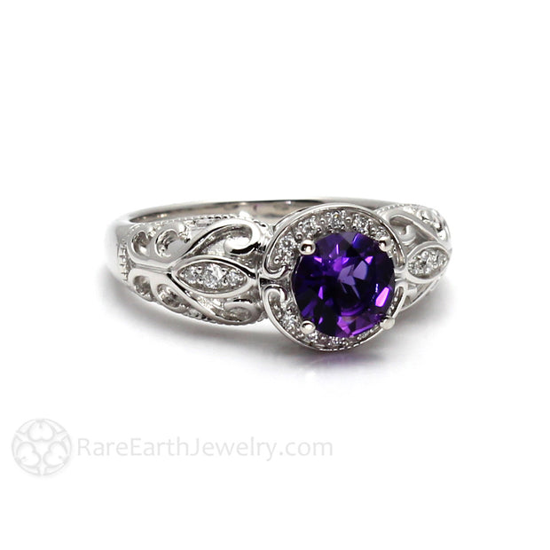 Rare Earth Jewelry Vintage Filigree Amethyst Ring with Diamond Halo and Accent Stones 14K White Gold