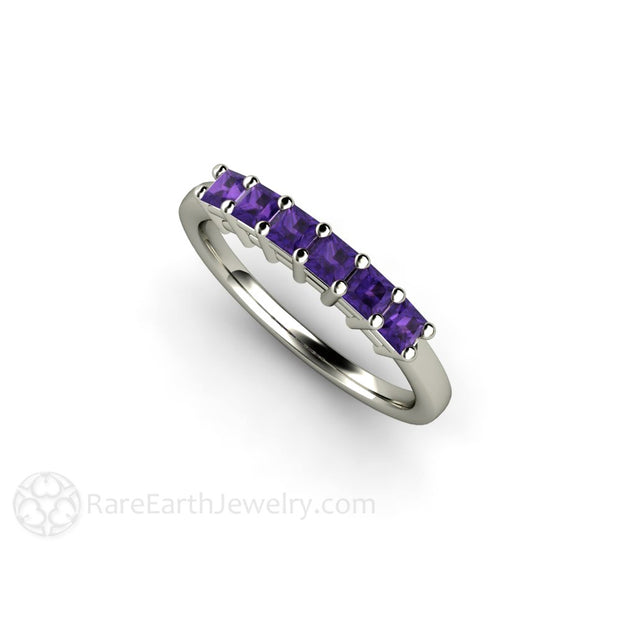 Amethyst Stacking Ring Anniversary Band Rare Earth Jewelry