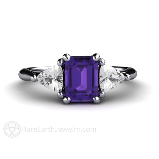 Rare Earth Jewelry Amethyst Ring with Sapphires Emerald Cut 14K Gold