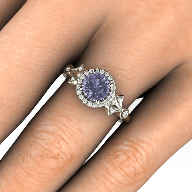 Art Deco Sapphire Halo Ring on Finger Rare Earth Jewelry