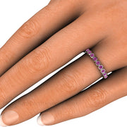 Purple Diamond Right Hand Ring on Finger Bezel Setting Rare Earth Jewelry