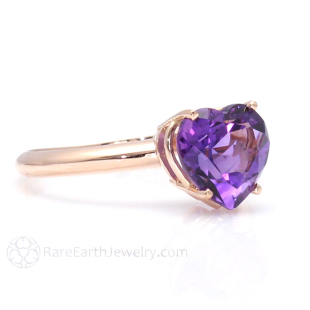Rare Earth Jewelry Amethyst Heart Ring February Birthstone 14K or 18K Gold
