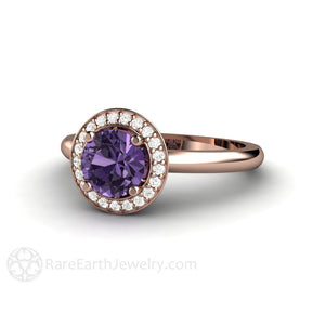 Rare Earth Jewelry Purple Sapphire Ring Diamond Halo Engagement 14K Gold