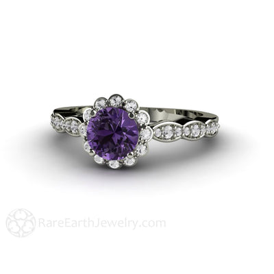 Rare Earth Jewelry Purple Sapphire Engagement Ring Vintage Diamond Halo 14K or 18K Gold