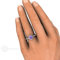 Round Purple Sapphire Halo Engagement Ring on Finger Rare Earth Jewelry