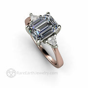 Rare Earth Jewelry Custom 3 Stone Gray Moissanite Engagement Ring in Rose Gold and White Gold Two Tone