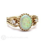 Vintage Oval Cut Opal Ring with Diamonds Rare Earth Jewelry