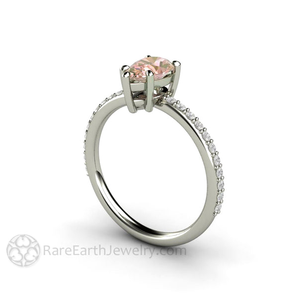 Rare Earth Jewelry 1.15 Carat Pear Shaped Pink Champagne Sapphire and Diamond Bridal Ring 14K or 18K White Gold
