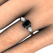 Rare Earth Jewelry 1.25 Carat Cushion Black Diamond Engagement Ring 3 Stone Setting with Pear White Sapphire Side Stones