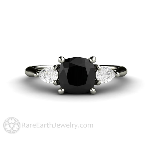 Rare Earth Jewelry 1.25ct Cushion Black Diamond Engagement Ring with White Sapphire Accents 14K White Gold Vintage Design