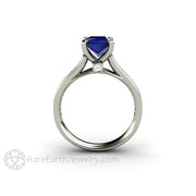 Rare Earth Jewelry 1.5 Carat Blue Sapphire Wedding Ring Diamond Accented Cathedral Setting