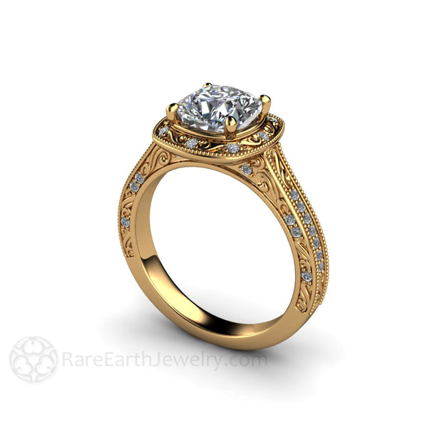 Rare Earth Jewelry 18K Cushion Cut Moissanite Halo Ring 1.5 Carat Forever One with Milgrain Filigree and Pave Set Diamonds
