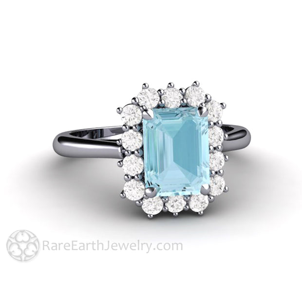 Rare Earth Jewelry 1.5 Carat Emerald Cut Aquamarine Ring Diamond Accented Halo Platinum Setting