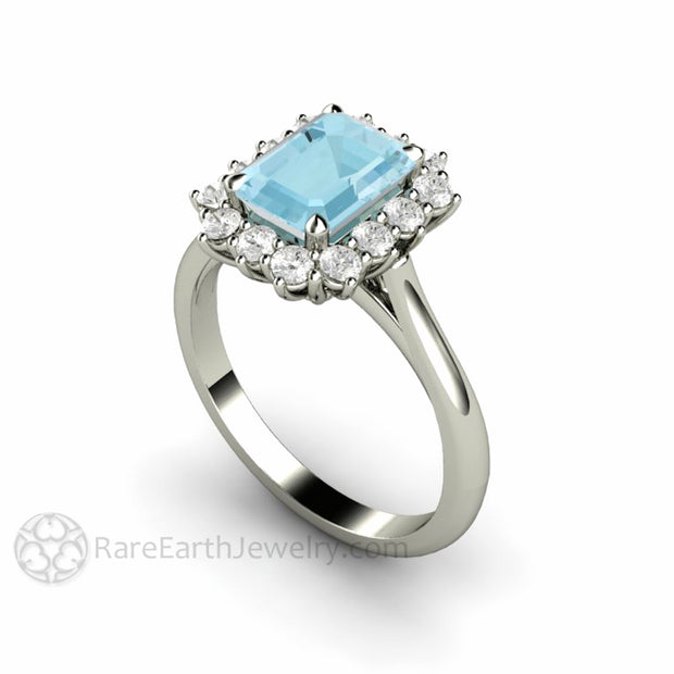 Rare Earth Jewelry 1.5ct Emerald Aquamarine and Diamond Ring 14K White Gold