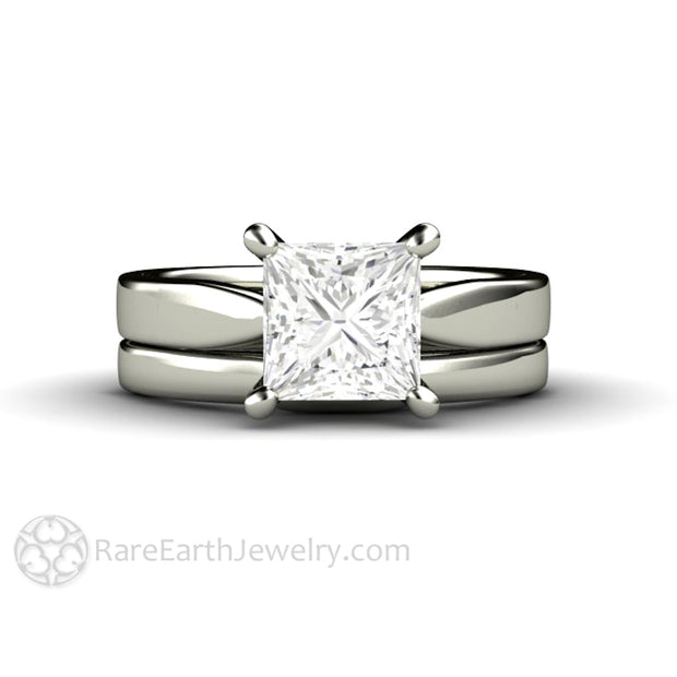 Rare Earth Jewelry 1.5ct Princess Cut Forever One Moissanite Solitaire Wedding Ring Set with Classic White Gold Bridal Band