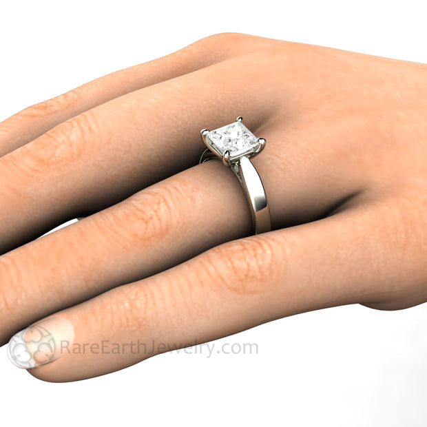 Rare Earth Jewelry 1.5ct Princess Forever One Moissanite Ring on Finger 14K or 18K White Gold Flat Band 4 Prong Setting