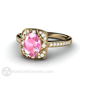 Rare Earth Jewelry 1.75 Carat Oval Pink Sapphire Engagement Ring Diamond Accent Stones 14K Gold Setting