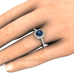 Rare Earth Jewelry 14K Alexandrite Engagement Ring on Finger Halo Claw Prong Setting