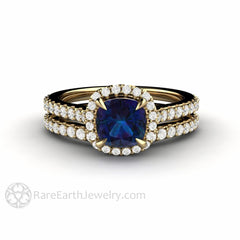 Rare Earth Jewelry 14K Alexandrite Wedding Set 1ct Cushion Cut Color Change Gemstone Diamond Accented Halo and Band