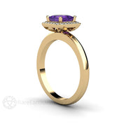 Rare Earth Jewelry Amethyst February Birthstone Ring or Anniversary 14K Gold Diamond Halo