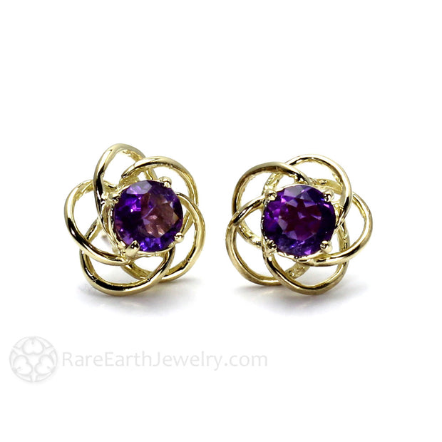 Rare Earth Jewelry Purple Amethyst Earrings 14K Gold