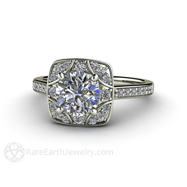 Rare Earth Jewelry Art Deco Moissanite Ring Round Cut 1ct Vintage Style Bridal or Anniversary 14K White Halo Setting