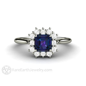 Rare Earth Jewelry Asscher Alexandrite Engagement Ring Diamond Halo 14K White Gold