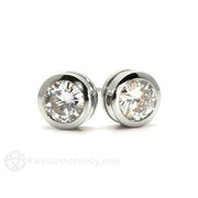 Rare Earth Jewelry 14K White Gold Moissanite Earrings Friction Back Stud Posts Round Cut Bezel