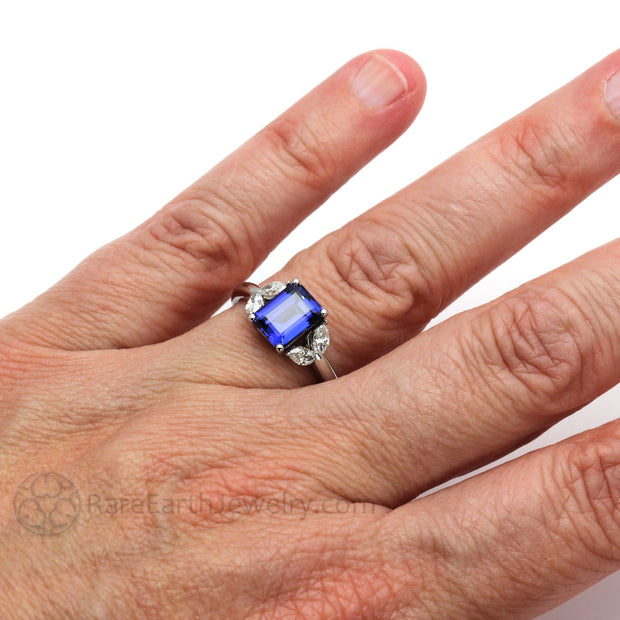 Blue Sapphire Cocktail Right Hand Ring on Finger Rare Earth Jewelry
