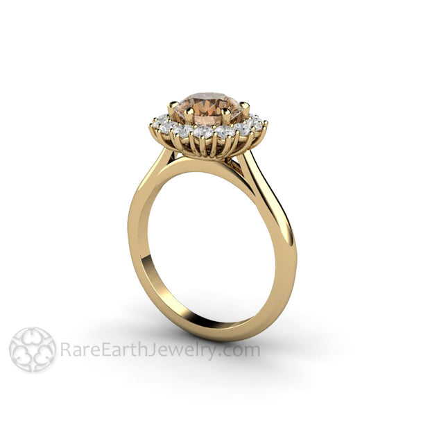 Rare Earth Jewelry 18K Coffee Brown Moissanite Wedding Ring White Forever One Halo Unique 6 Prong Engagement
