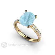 Rare Earth Jewelry 14K Cushion Aquamarine Bridal Ring 3 Carat Cathedral Double Prong Pave Diamond Setting