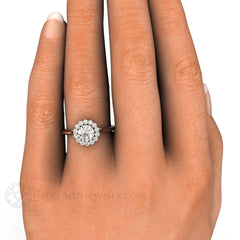 Diamond Engagement Ring on Finger Round Cut Rare Earth Jewelry