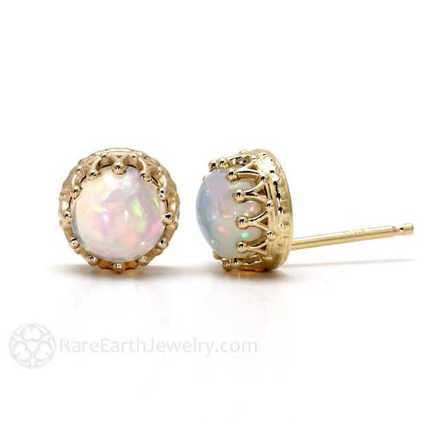 14K Crown Cabochon Natural Opal Earrings Rare Earth Jewelry
