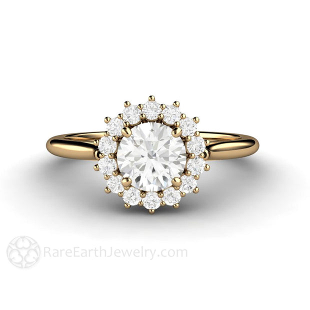 14K Round GIA Diamond Halo Cluster Anniversary or Engagement Ring 6mm Rare Earth Jewelry