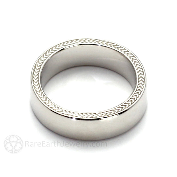 Rare Earth Jewelry 14K Gold Mens Wedding Ring with Woven Wheat Pattern 6mm