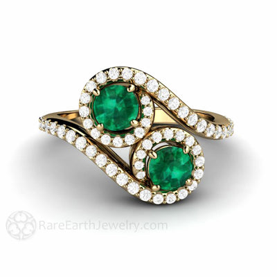 Rare Earth Jewelry Unique Emerald Engagement Ring Diamond Halo 2 Stone 14K