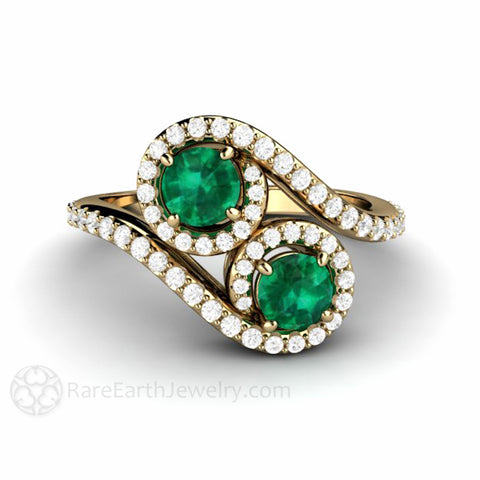 2 Stone Emerald Ring Toi et Moi Engagement May Birthstone